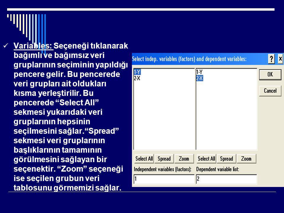  Variables: Seçeneği tıklanarak bağımlı ve bağımsız veri gruplarının seçiminin yapıldığı pencere gelir.
