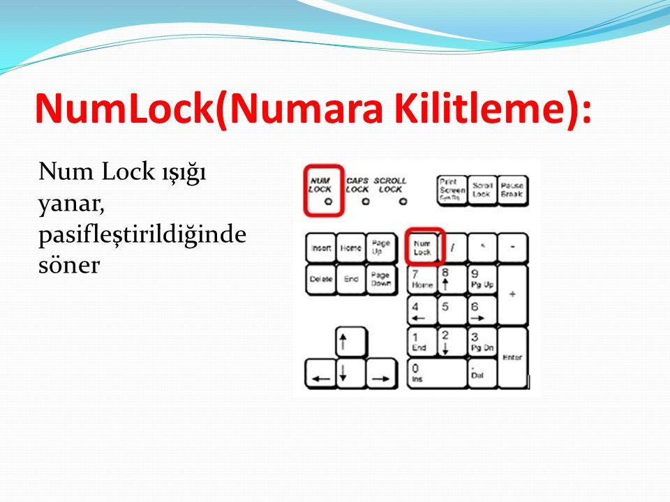 NumLock(Numara Kilitleme): Num Lock ışığı yanar, pasifleştirildiğinde söner