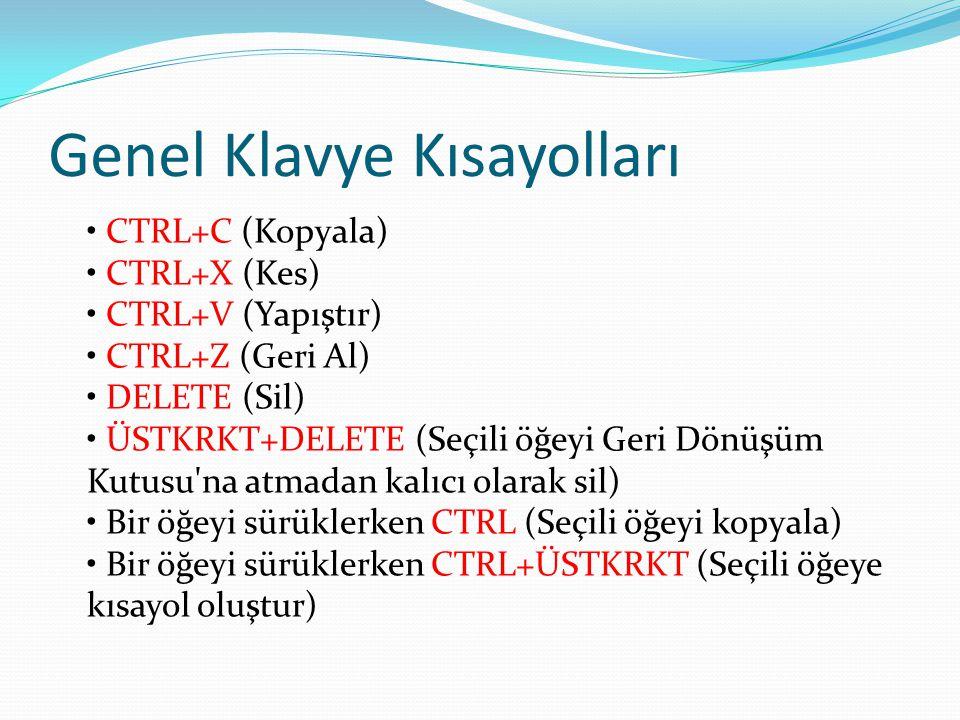 Genel Klavye Kısayolları • CTRL+C (Kopyala) • CTRL+X (Kes) • CTRL+V (Yapıştır) • CTRL+Z (Geri Al) • DELETE (Sil) • ÜSTKRKT+DELETE (Seçili öğeyi Geri Dönüşüm Kutusu na atmadan kalıcı olarak sil) • Bir öğeyi sürüklerken CTRL (Seçili öğeyi kopyala) • Bir öğeyi sürüklerken CTRL+ÜSTKRKT (Seçili öğeye kısayol oluştur)