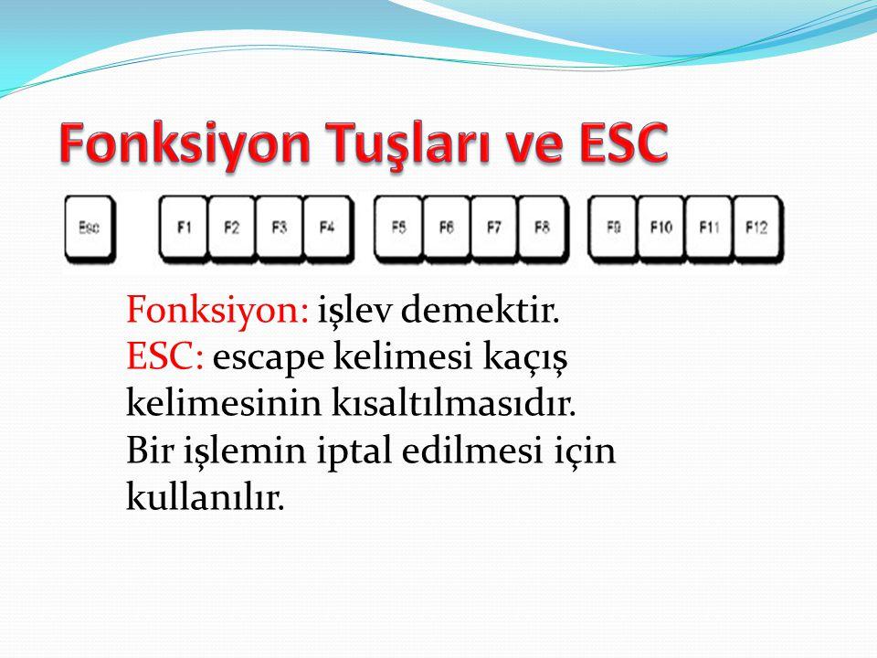 Fonksiyon: işlev demektir.ESC: escape kelimesi kaçış kelimesinin kısaltılmasıdır.