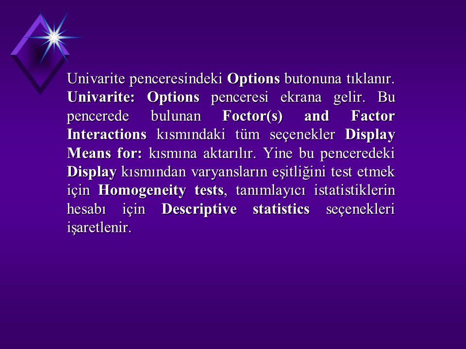 Univarite penceresindeki Options butonuna tıklanır. Univarite: Options penceresi ekrana gelir. Bu pencerede bulunan Foctor(s) and Factor Interactions