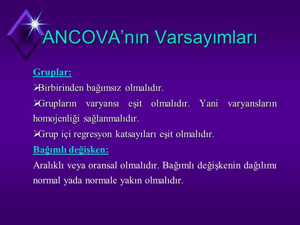 ANCOVA'nın Varsayımları Gruplar:  Birbirinden bağımsız olmalıdır.  Grupların varyansı eşit olmalıdır. Yani varyansların homojenliği sağlanmalıdır. 