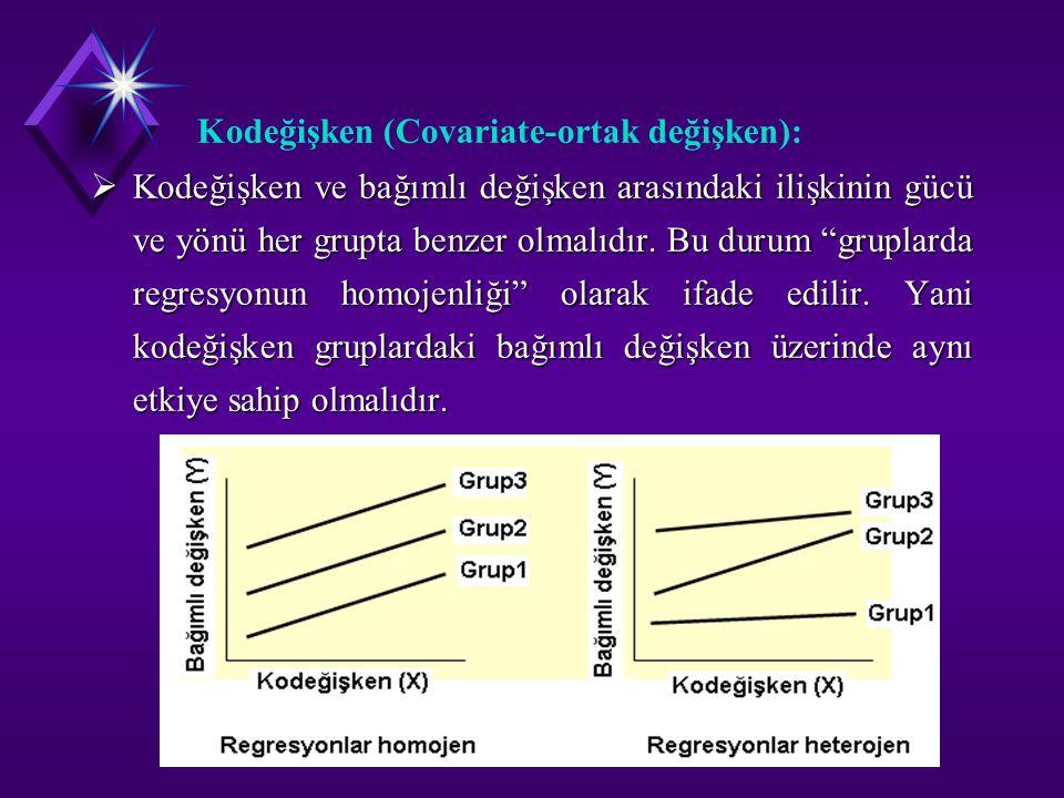 """Kodeğişken (Covariate-ortak değişken):  Kodeğişken ve bağımlı değişken arasındaki ilişkinin gücü ve yönü her grupta benzer olmalıdır. Bu durum """"grupl"""