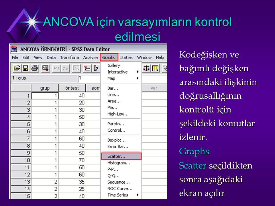 ANCOVA için varsayımların kontrol edilmesi Kodeğişken ve bağımlı değişken arasındaki ilişkinin doğrusallığının kontrolü için şekildeki komutlar izlenir.
