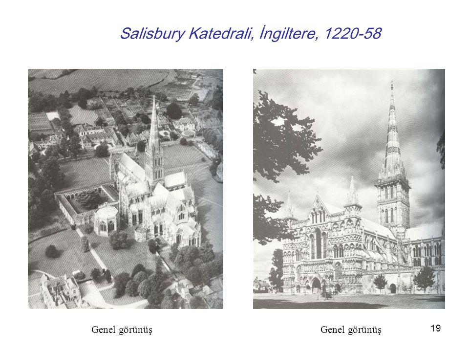 20 Salisbury Katedrali İngiltere, 1220-58. İç mekan görünüşü Apsitte yer alan taşıyıcı
