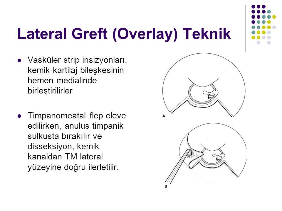 Lateral Greft (Overlay) Teknik  Vasküler strip insizyonları, kemik-kartilaj bileşkesinin hemen medialinde birleştirilirler  Timpanomeatal flep eleve edilirken, anulus timpanik sulkusta bırakılır ve disseksiyon, kemik kanaldan TM lateral yüzeyine doğru ilerletilir.