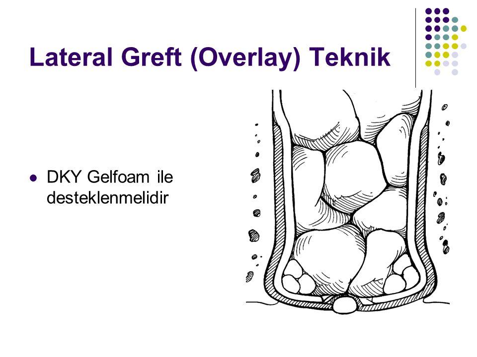 Lateral Greft (Overlay) Teknik  DKY Gelfoam ile desteklenmelidir