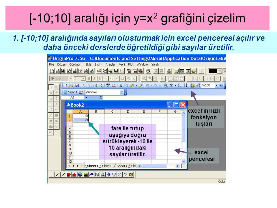 [-10;10] aralığı için y=x 2 grafiğini çizelim 1. [-10;10] aralığında sayıları oluşturmak için excel penceresi açılır ve daha önceki derslerde öğretild