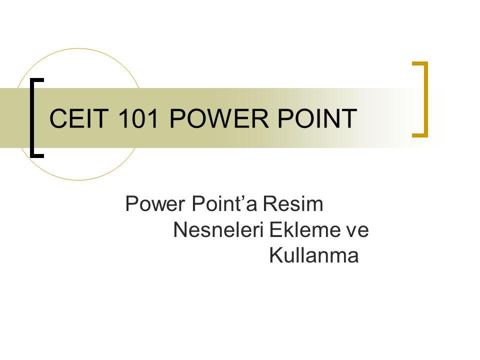 CEIT 101 POWER POINT Power Point'a Resim Nesneleri Ekleme ve Kullanma