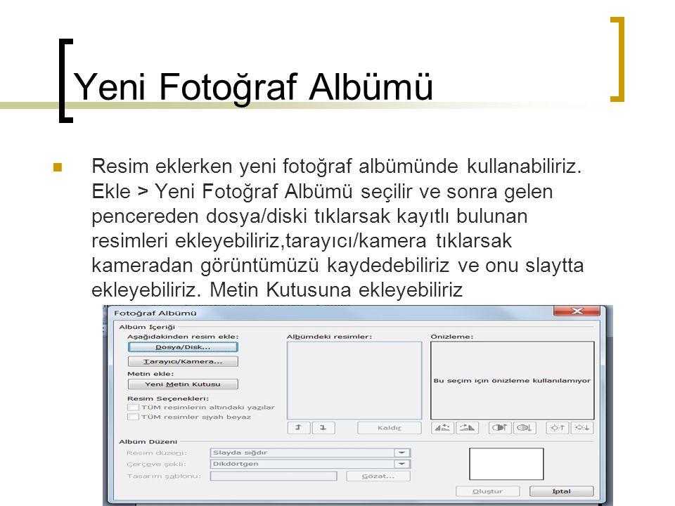 Yeni Fotoğraf Albümü  Resim eklerken yeni fotoğraf albümünde kullanabiliriz. Ekle > Yeni Fotoğraf Albümü seçilir ve sonra gelen pencereden dosya/disk