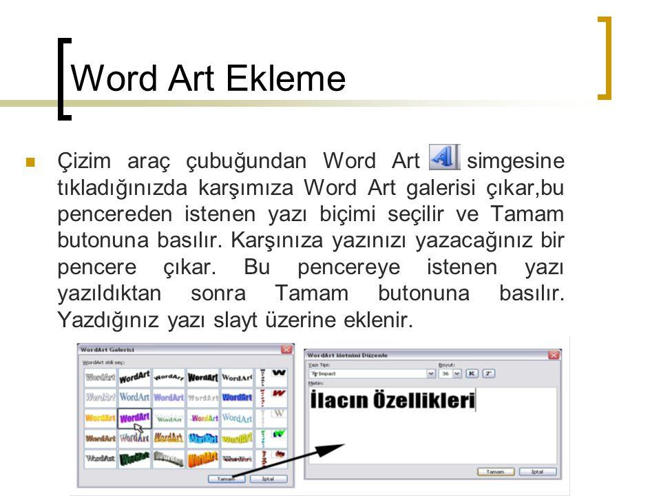 Word Art Ekleme  Çizim araç çubuğundan Word Art simgesine tıkladığınızda karşımıza Word Art galerisi çıkar,bu pencereden istenen yazı biçimi seçilir