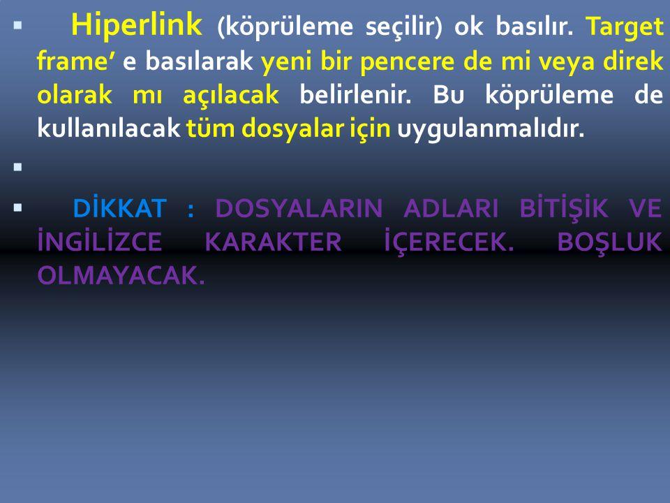  Hiperlink (köprüleme seçilir) ok basılır.