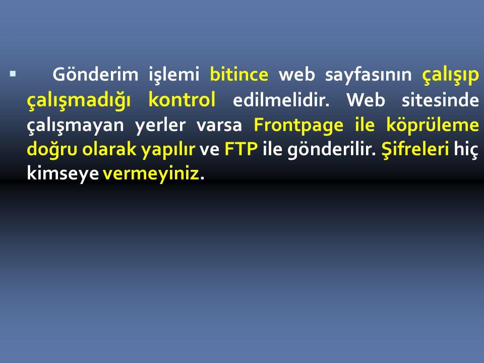  Gönderim işlemi bitince web sayfasının çalışıp çalışmadığı kontrol edilmelidir.