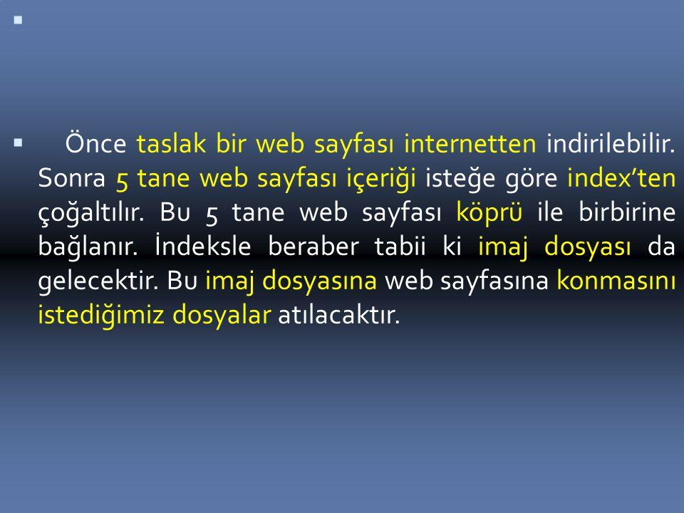   Önce taslak bir web sayfası internetten indirilebilir.