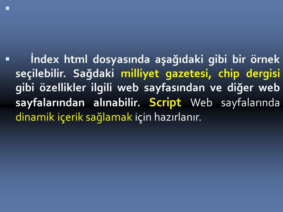   İndex html dosyasında aşağıdaki gibi bir örnek seçilebilir.
