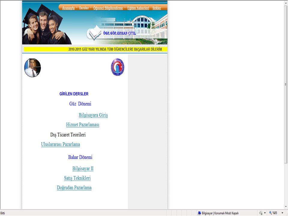  İmaj dosyasında web sayfalarında kullanılacak klasörler hazırlanır ve Frontpage ile web sayfaları üzerinde yazı ile belirtilerek köprüleme yapılır.