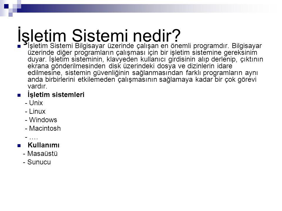 İşletim Sistemi nedir?  İşletim Sistemi Bilgisayar üzerinde çalışan en önemli programdır. Bilgisayar üzerinde diğer programların çalışması için bir i