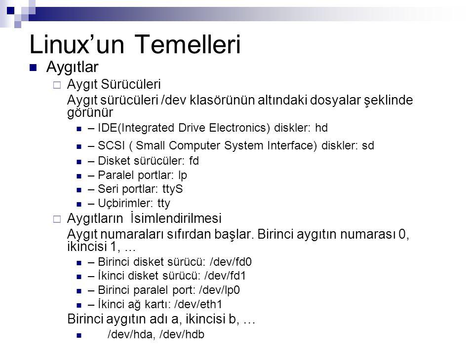 Linux'un Temelleri  Aygıtlar  Aygıt Sürücüleri Aygıt sürücüleri /dev klasörünün altındaki dosyalar şeklinde görünür  – IDE(Integrated Drive Electro