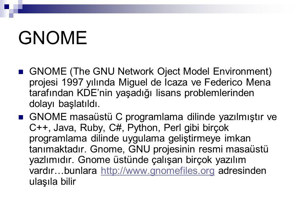 GNOME  GNOME (The GNU Network Oject Model Environment) projesi 1997 yılında Miguel de Icaza ve Federico Mena tarafından KDE'nin yaşadığı lisans probl