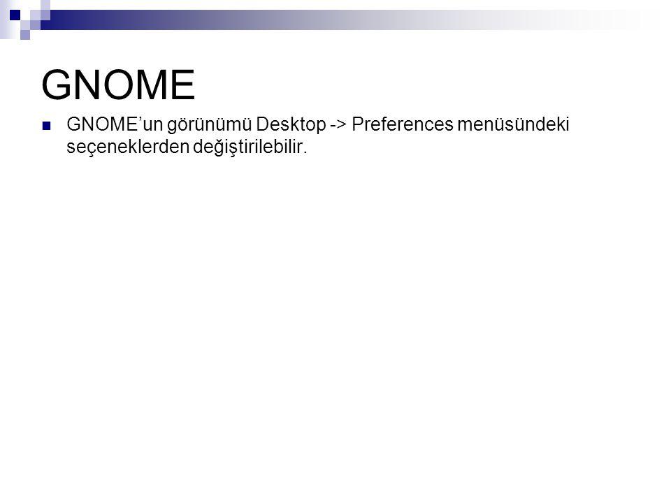 GNOME  GNOME'un görünümü Desktop -> Preferences menüsündeki seçeneklerden değiştirilebilir.