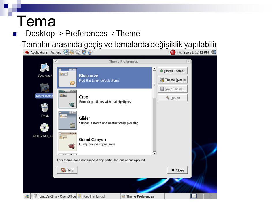 Tema  -Desktop -> Preferences ->Theme -Temalar arasında geçiş ve temalarda değişiklik yapılabilir