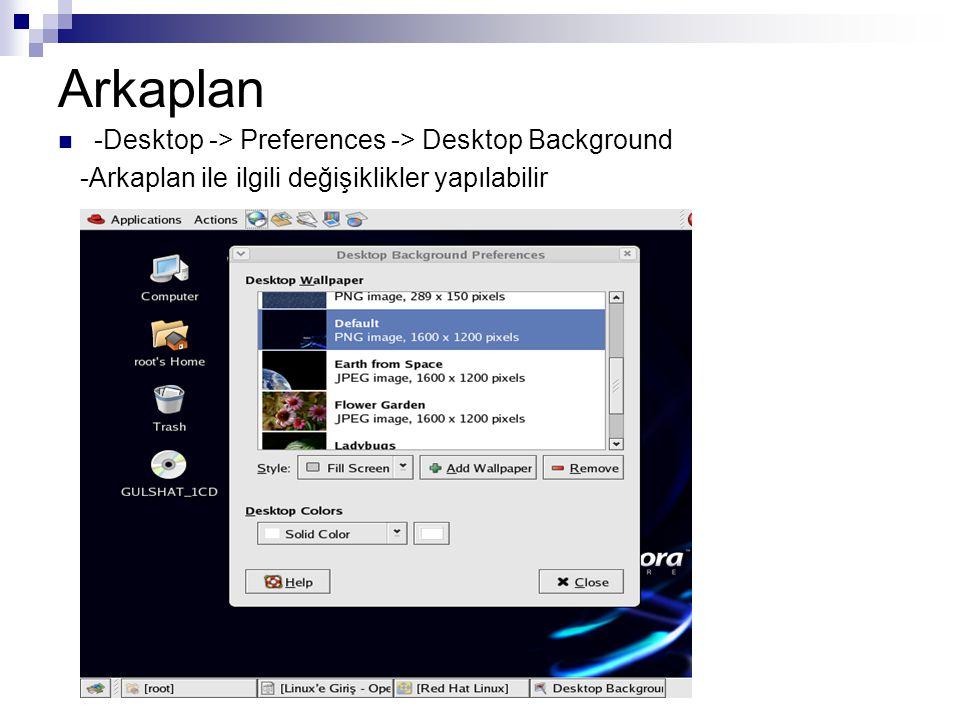 Arkaplan  -Desktop -> Preferences -> Desktop Background -Arkaplan ile ilgili değişiklikler yapılabilir