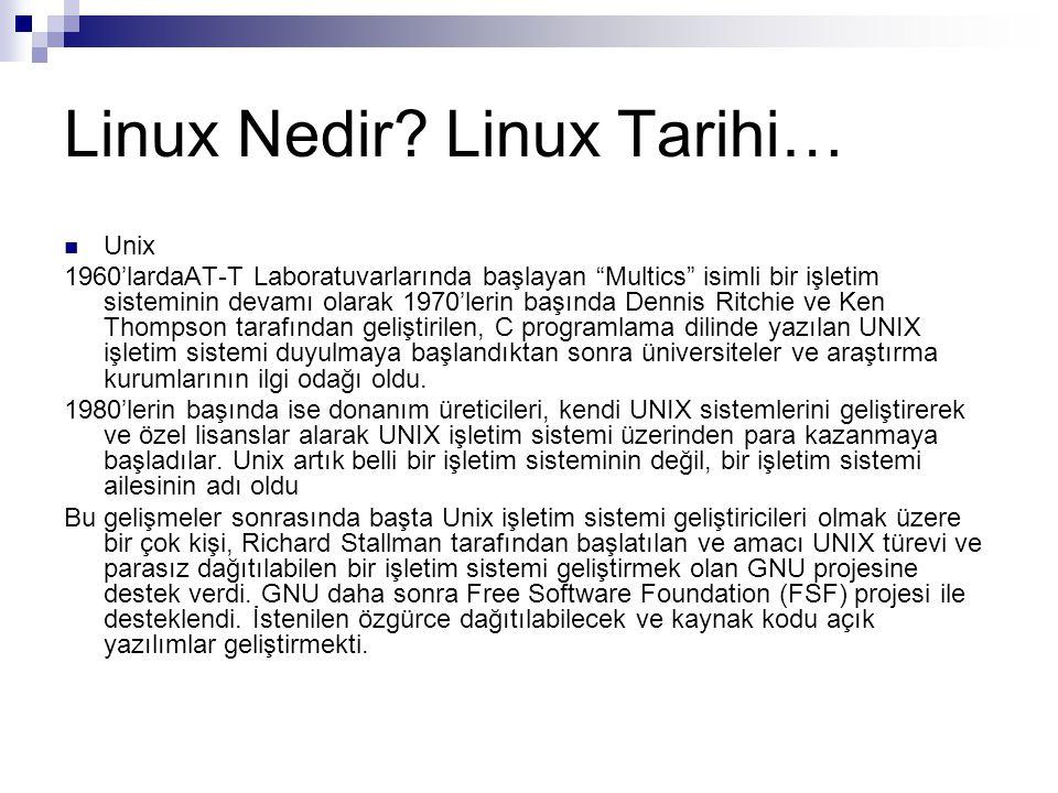 """Linux Nedir? Linux Tarihi…  Unix 1960'lardaAT-T Laboratuvarlarında başlayan """"Multics"""" isimli bir işletim sisteminin devamı olarak 1970'lerin başında"""
