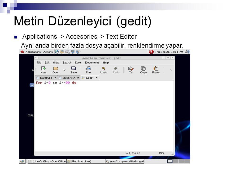 Metin Düzenleyici (gedit)  Applications -> Accesories -> Text Editor Aynı anda birden fazla dosya açabilir, renklendirme yapar.