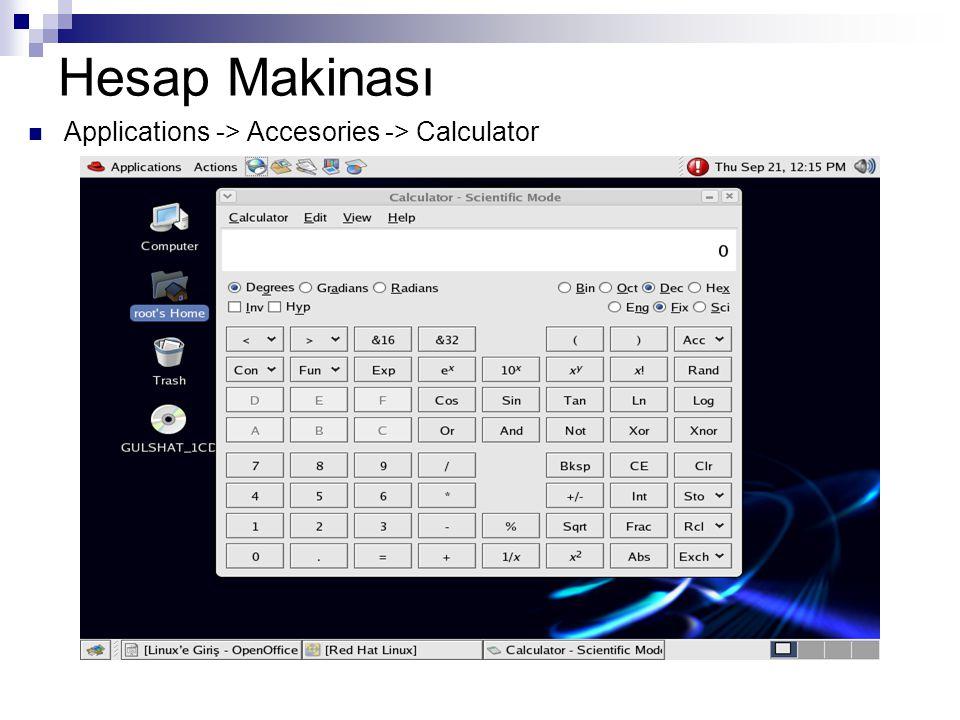 Hesap Makinası  Applications -> Accesories -> Calculator