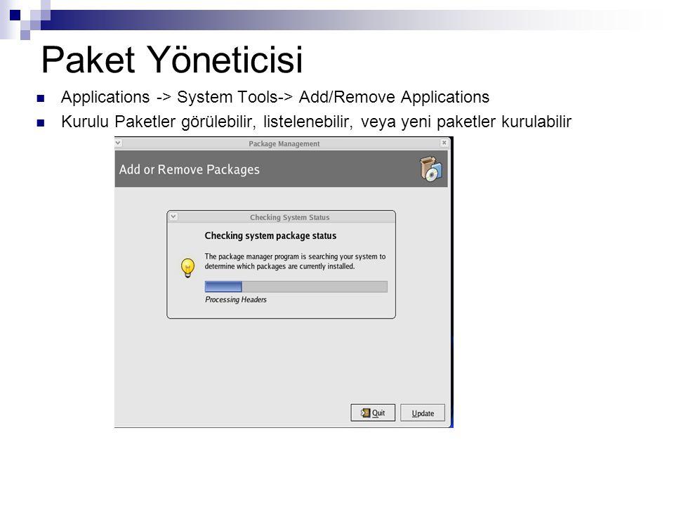 Paket Yöneticisi  Applications -> System Tools-> Add/Remove Applications  Kurulu Paketler görülebilir, listelenebilir, veya yeni paketler kurulabili