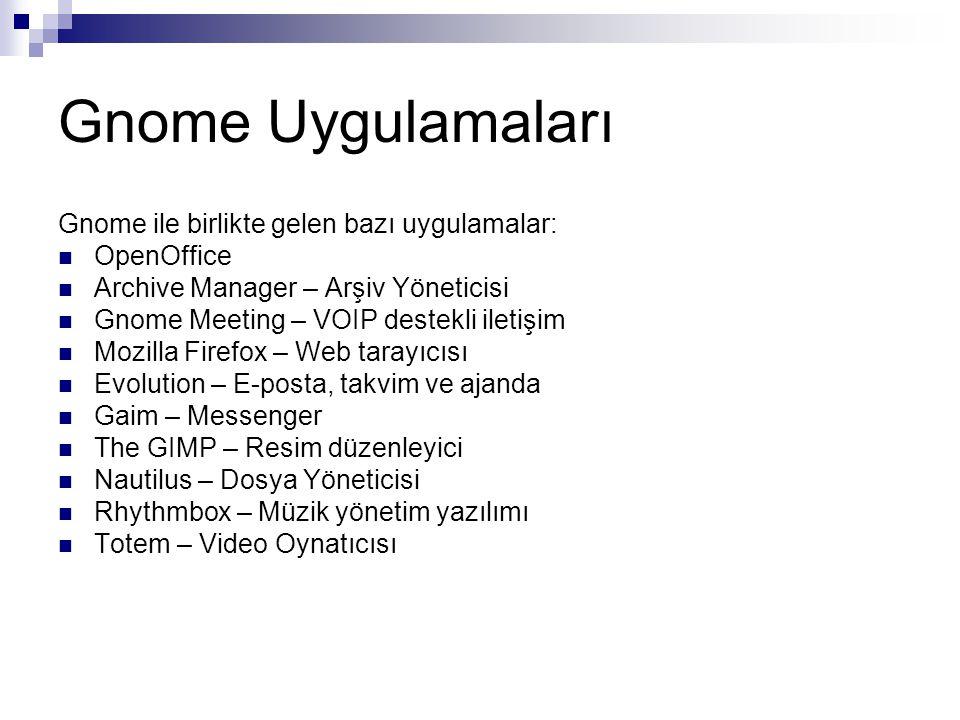 Gnome Uygulamaları Gnome ile birlikte gelen bazı uygulamalar:  OpenOffice  Archive Manager – Arşiv Yöneticisi  Gnome Meeting – VOIP destekli iletiş