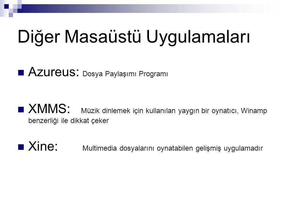 Diğer Masaüstü Uygulamaları  Azureus: Dosya Paylaşımı Programı  XMMS: Müzik dinlemek için kullanılan yaygın bir oynatıcı, Winamp benzerliği ile dikk
