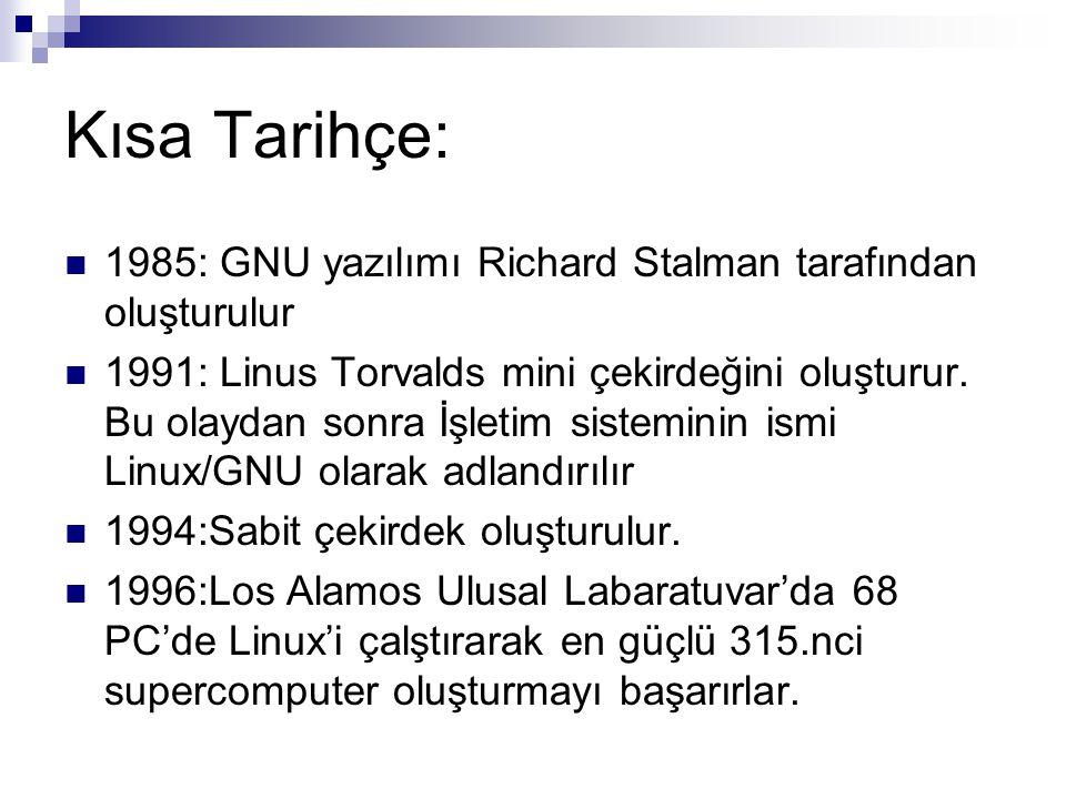 Kısa Tarihçe:  1985: GNU yazılımı Richard Stalman tarafından oluşturulur  1991: Linus Torvalds mini çekirdeğini oluşturur. Bu olaydan sonra İşletim