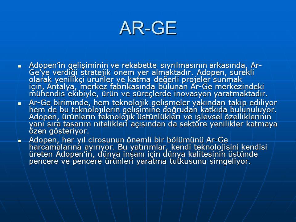 AR-GE  Adopen'in gelişiminin ve rekabette sıyrılmasının arkasında, Ar- Ge'ye verdiği stratejik önem yer almaktadır. Adopen, sürekli olarak yenilikçi
