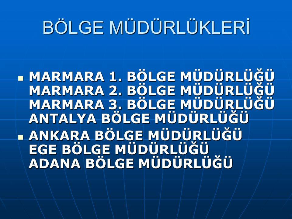 BÖLGE MÜDÜRLÜKLERİ  MARMARA 1.BÖLGE MÜDÜRLÜĞÜ MARMARA 2.