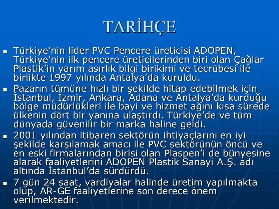 TARİHÇE  Türkiye'nin lider PVC Pencere üreticisi ADOPEN, Türkiye'nin ilk pencere üreticilerinden biri olan Çağlar Plastik'in yarım asırlık bilgi birikimi ve tecrübesi ile birlikte 1997 yılında Antalya'da kuruldu.