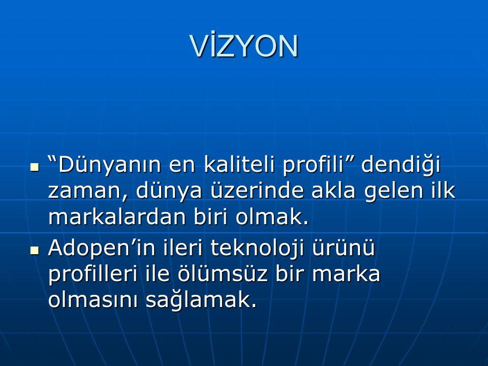 MİSYON Adopen'in misyonu, tüketicisini yerli ve yabancı olmak üzere ayırt etmeksizin PVC profil konusunda en kaliteli ürünleri ve hizmeti sunarak, Dünyanın PVC Profil Üreticisi olmaktır.