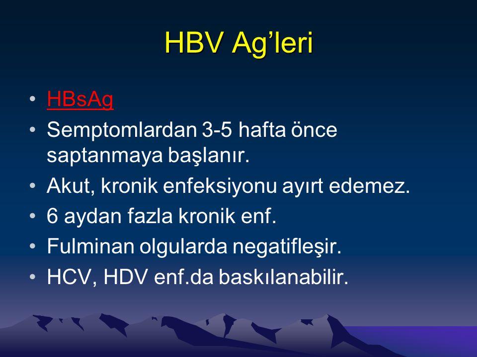 HBV Ag'leri •HBsAg •Semptomlardan 3-5 hafta önce saptanmaya başlanır. •Akut, kronik enfeksiyonu ayırt edemez. •6 aydan fazla kronik enf. •Fulminan olg