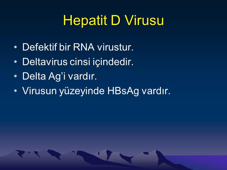 Hepatit D Virusu •Defektif bir RNA virustur. •Deltavirus cinsi içindedir. •Delta Ag'i vardır. •Virusun yüzeyinde HBsAg vardır.