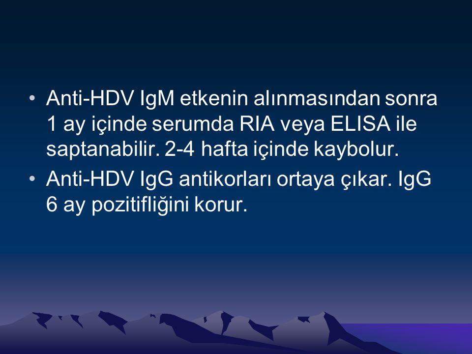 •Anti-HDV IgM etkenin alınmasından sonra 1 ay içinde serumda RIA veya ELISA ile saptanabilir. 2-4 hafta içinde kaybolur. •Anti-HDV IgG antikorları ort