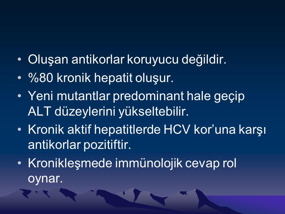 •Oluşan antikorlar koruyucu değildir. •%80 kronik hepatit oluşur. •Yeni mutantlar predominant hale geçip ALT düzeylerini yükseltebilir. •Kronik aktif