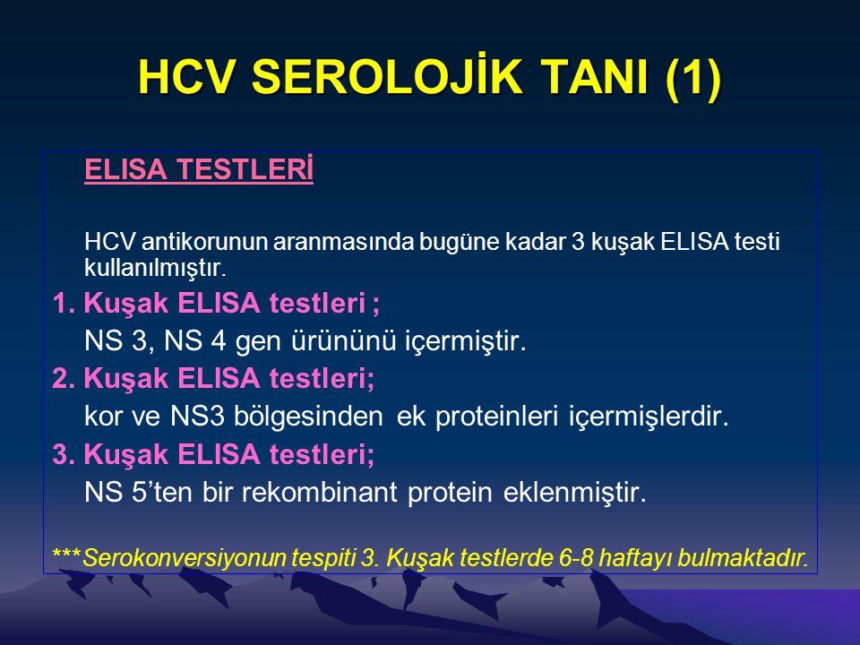 HCV SEROLOJİK TANI (1) ELISA TESTLERİ HCV antikorunun aranmasında bugüne kadar 3 kuşak ELISA testi kullanılmıştır. 1. Kuşak ELISA testleri ; NS 3, NS