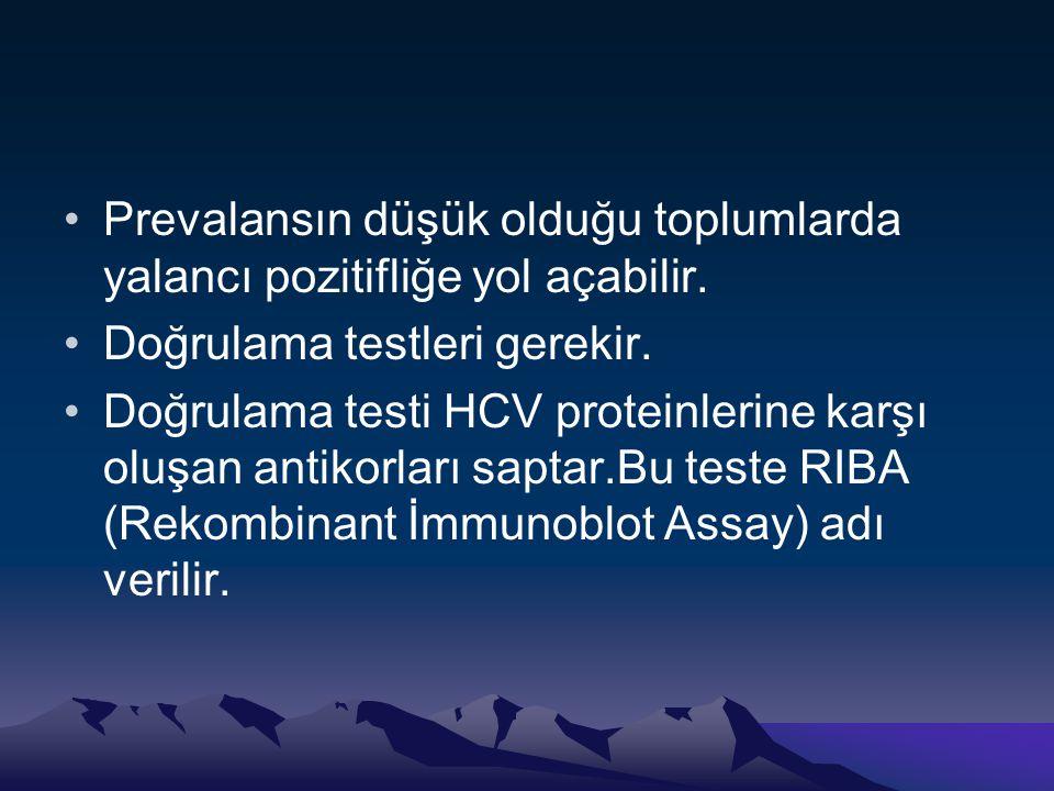 •Prevalansın düşük olduğu toplumlarda yalancı pozitifliğe yol açabilir. •Doğrulama testleri gerekir. •Doğrulama testi HCV proteinlerine karşı oluşan a