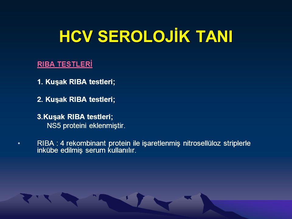 HCV SEROLOJİK TANI RIBA TESTLERİ 1. Kuşak RIBA testleri; 2. Kuşak RIBA testleri; 3.Kuşak RIBA testleri; NS5 proteini eklenmiştir. •RIBA : 4 rekombinan