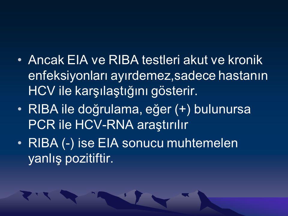 •Ancak EIA ve RIBA testleri akut ve kronik enfeksiyonları ayırdemez,sadece hastanın HCV ile karşılaştığını gösterir. •RIBA ile doğrulama, eğer (+) bul