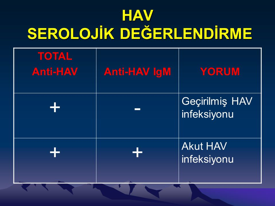 HAV SEROLOJİK DEĞERLENDİRME TOTAL Anti-HAVAnti-HAV IgMYORUM +- Geçirilmiş HAV infeksiyonu ++ Akut HAV infeksiyonu
