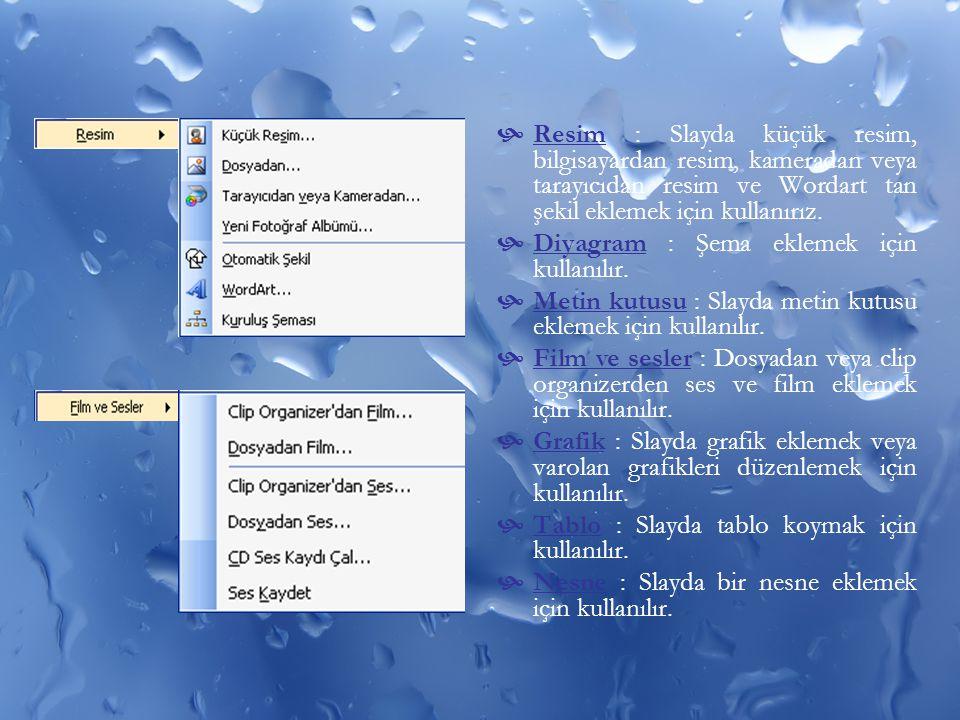  Resim : Slayda küçük resim, bilgisayardan resim, kameradan veya tarayıcıdan resim ve Wordart tan şekil eklemek için kullanırız.  Diyagram : Şema ek