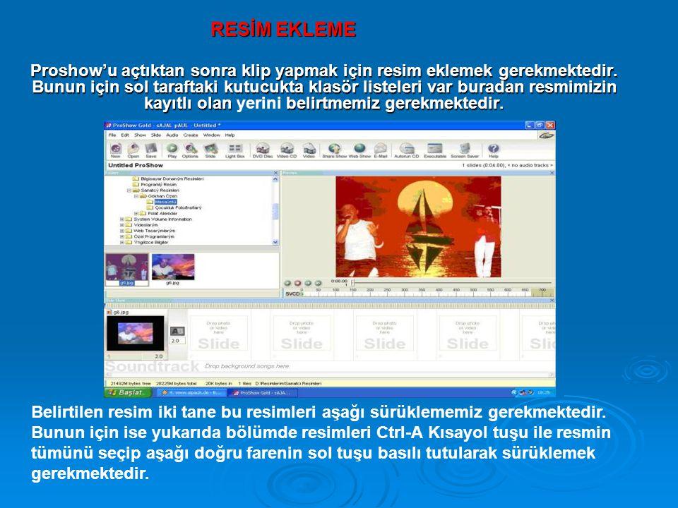 Proshow'u açtıktan sonra klip yapmak için resim eklemek gerekmektedir. Bunun için sol taraftaki kutucukta klasör listeleri var buradan resmimizin kayı