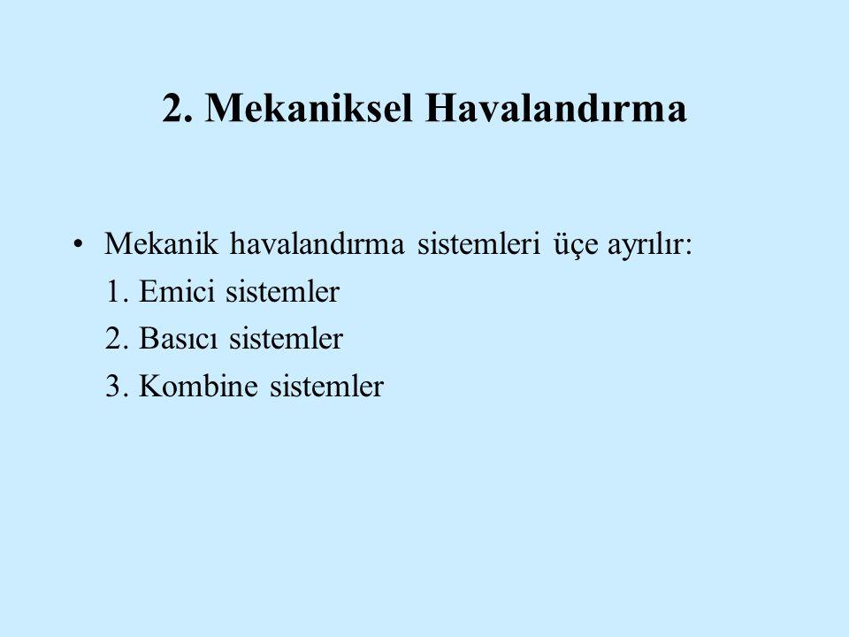 2.Mekaniksel Havalandırma •Mekanik havalandırma sistemleri üçe ayrılır: 1.