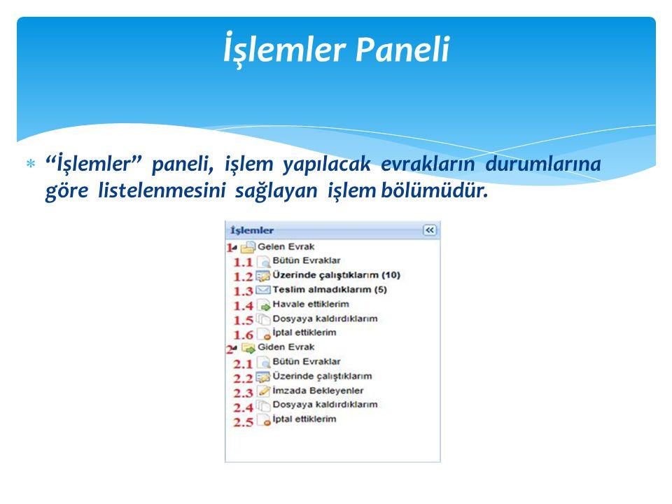 """ """"İşlemler"""" paneli, işlem yapılacak evrakların durumlarına göre listelenmesini sağlayan işlem bölümüdür. İşlemler Paneli"""